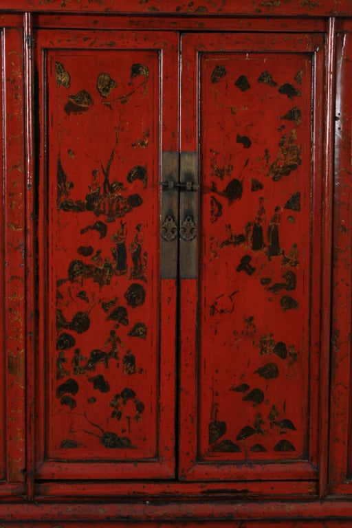PAIR, Red Lacquered Chinese Cabinets/Armoires, Circa 1770 5