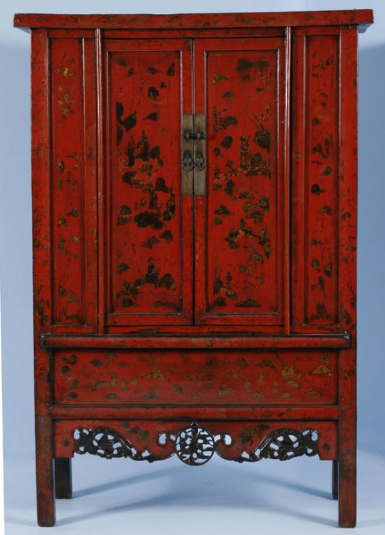 PAIR, Red Lacquered Chinese Cabinets/Armoires, Circa 1770 7