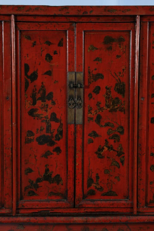 PAIR, Red Lacquered Chinese Cabinets/Armoires, Circa 1770 8