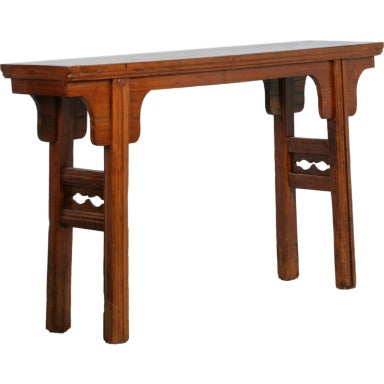 Antique Chinese Lacquered Fruitwood Console Table, Circa 1840