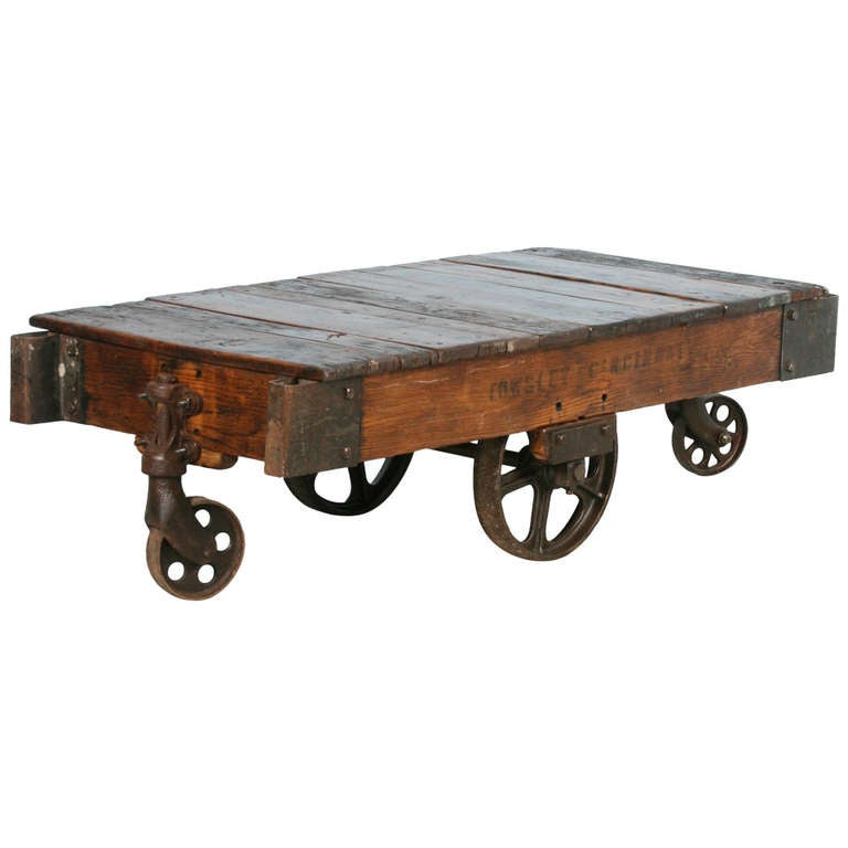 Antique Vintage Luggage Cart Coffee Table Circa 1920 With Cast Iron Wheels For