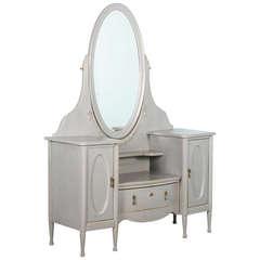 Antique Danish Grey Vanity with Mirror circa 1890-1910