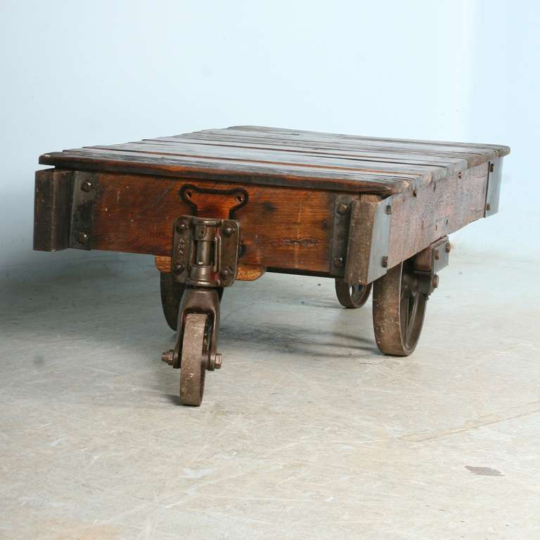 Antique Vintage Luggage Cart Coffee Table circa 1920 with Cast Iron Wheels 1