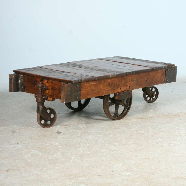 Beau Antique Vintage Luggage Cart Coffee Table Circa 1920 With Cast Iron Wheels