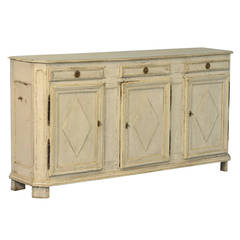 Antique Swedish Gustavian White Painted Sideboard