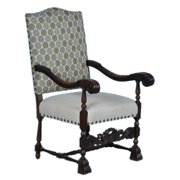 Danish Baroque Carved Arm Chair w/New Contemporary Upholstery
