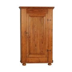 Large 1 Door Pine Corner Cabinet, Sweden Dated 1853