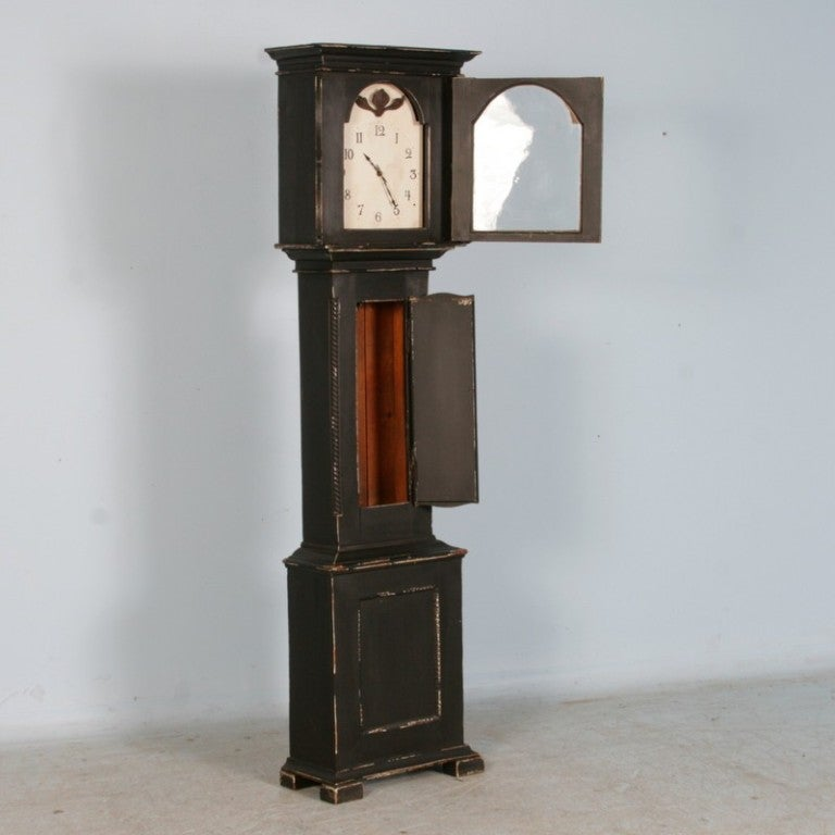Antique Danish Black Painted Grandfather Clock 2