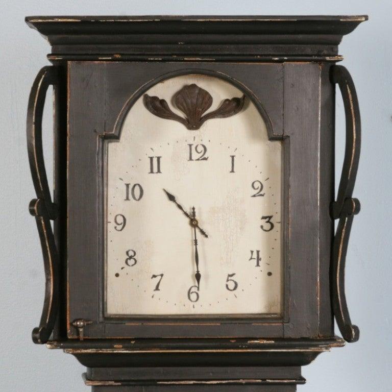 Antique Danish Black Painted Grandfather Clock 4