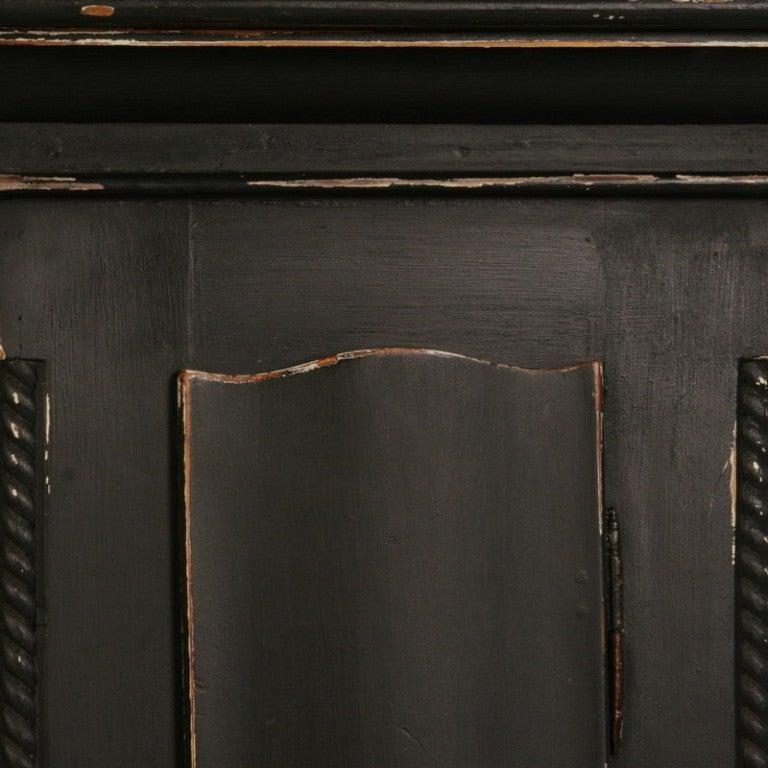 Antique Danish Black Painted Grandfather Clock 5