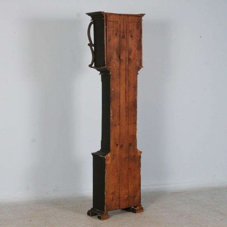Antique Danish Black Painted Grandfather Clock 6