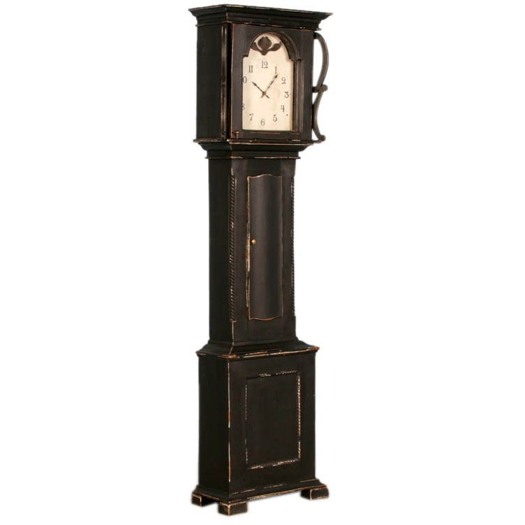 Antique Danish Black Painted Grandfather Clock