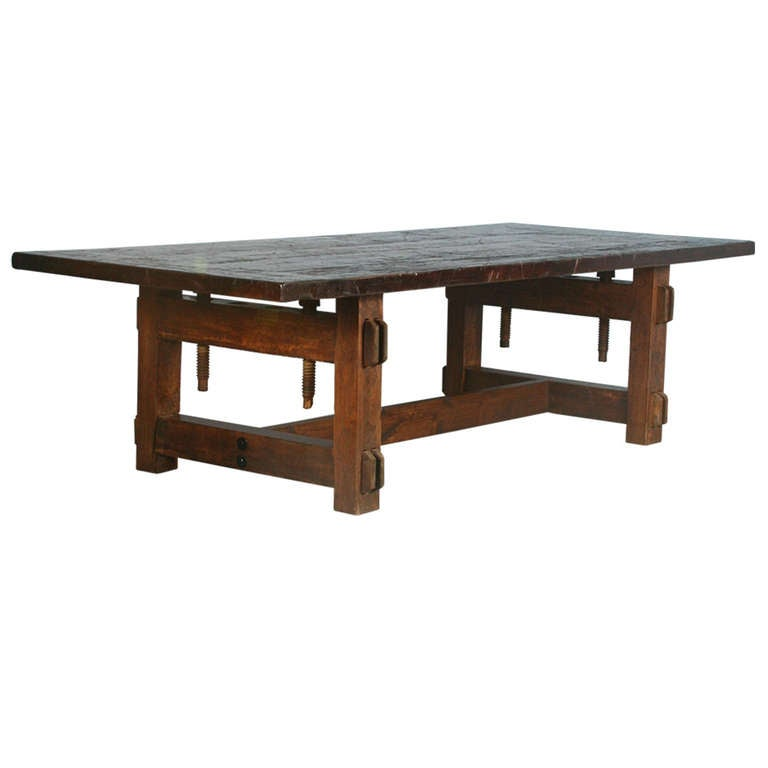 Architectural Industrial Dining Conference Table With Reclaimed Wood And Part