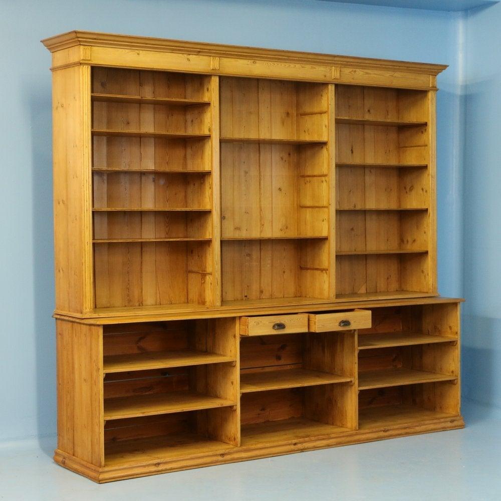Large Antique Pine Bookcase Wall Unit Denmark Circa 1880 2