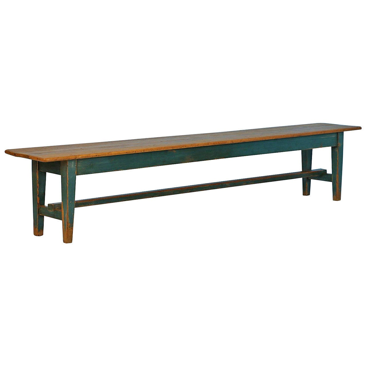 Extra Long Blue Painted Antique Bench Circa 1900 At 1stdibs