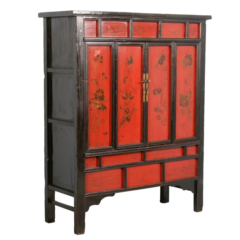 Chinese red painted lacquered cabinet with flowers circa for Red chinese furniture