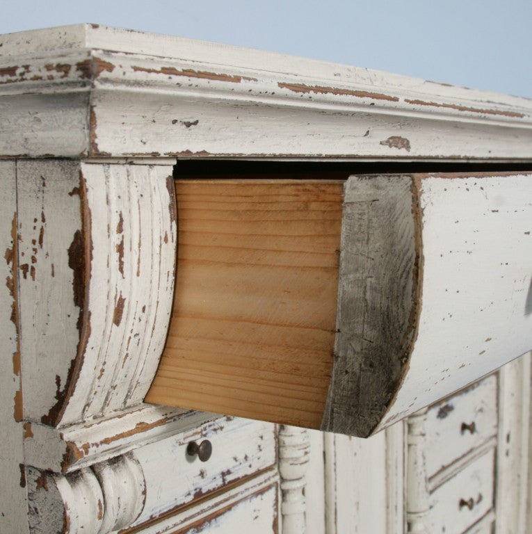 Materials Distressed And Glazed: Swedish Pine Secretary With Distressed White Paint, Circa