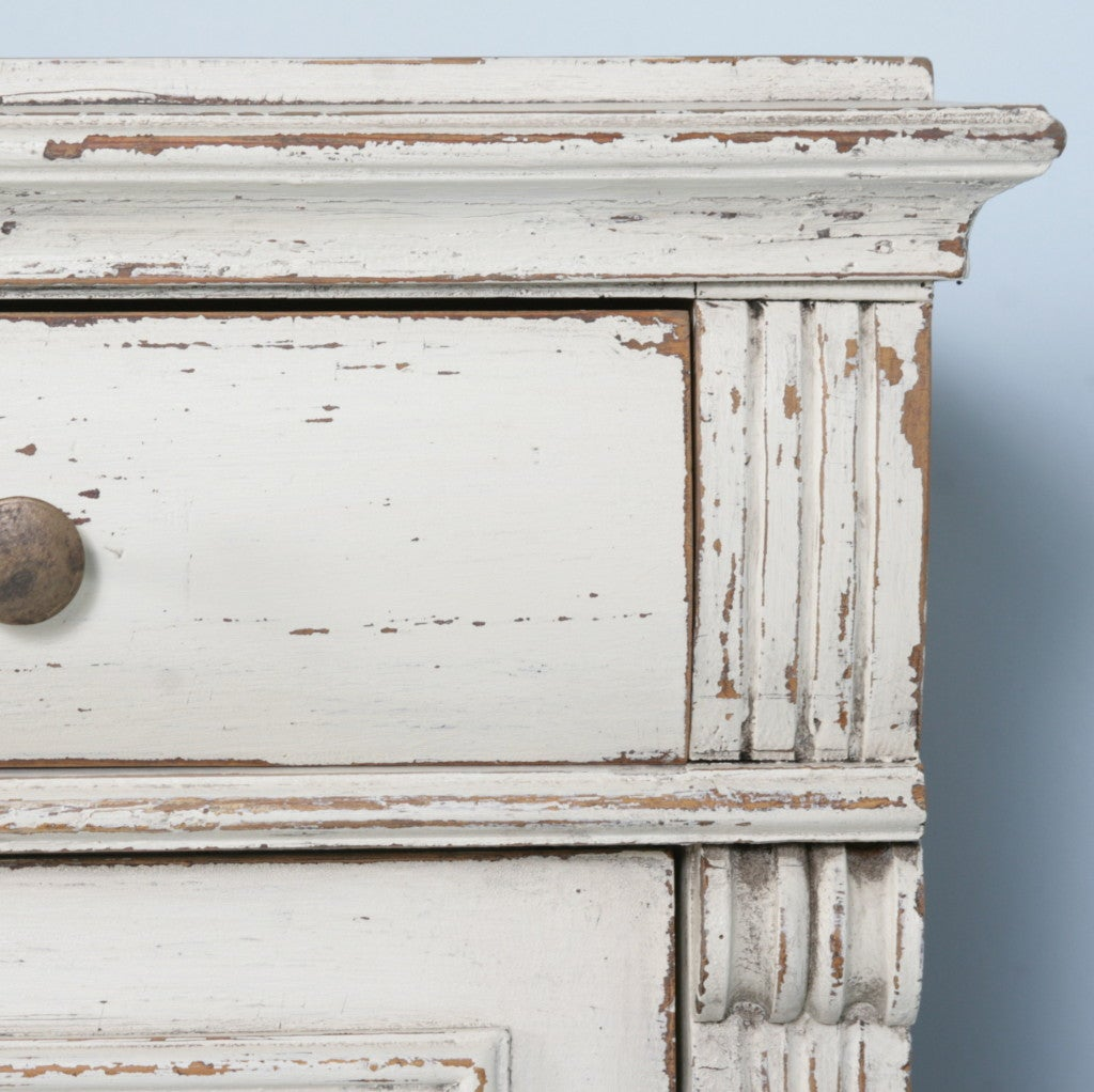 Swedish Pine Secretary With Distressed White Paint Circa