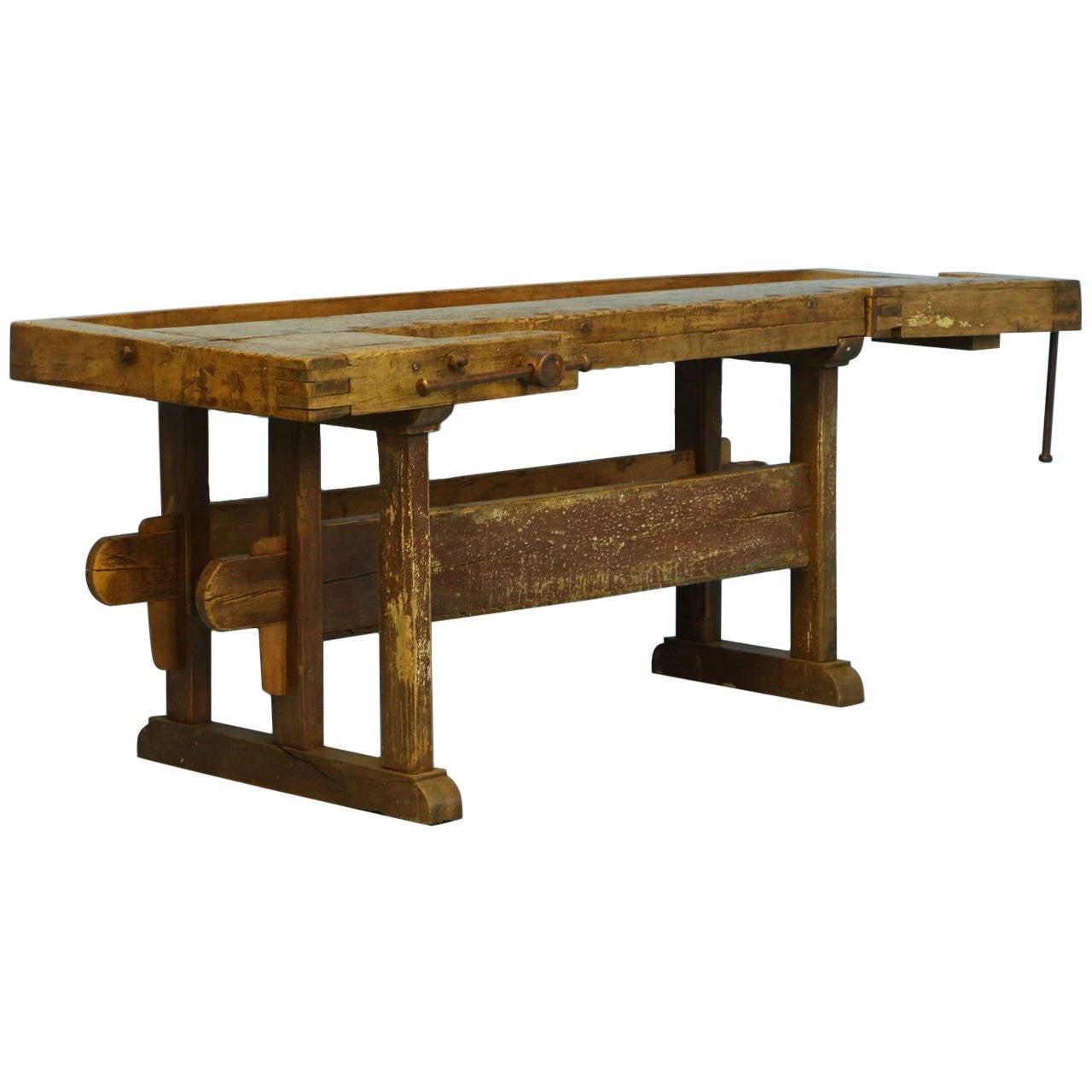 Amazing Antique Carpenteru0027s Workbench, Unusual Console Table, Circa 1860 1880 1 Photo Gallery