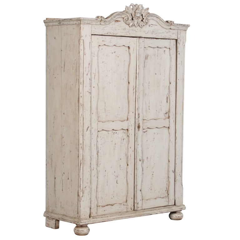 Antique Pine Swedish Armoire Circa 1870,Distressed Paint Finish For Sale