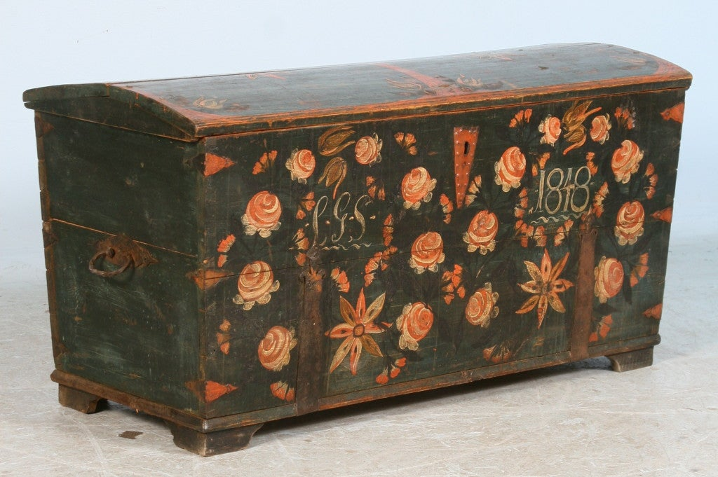 The colorful original paint has been well preserved on this lovely chest. The monogram and date of 1848 indicate it was likely a wedding or anniversary gift. Take note of the close up photos for best view of true colors.