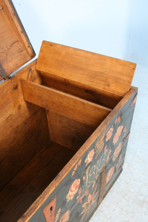 Pine Antique Original Painted Swedish Trunk, dated 1848 For Sale