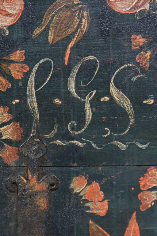 Antique Original Painted Swedish Trunk, dated 1848 For Sale 1