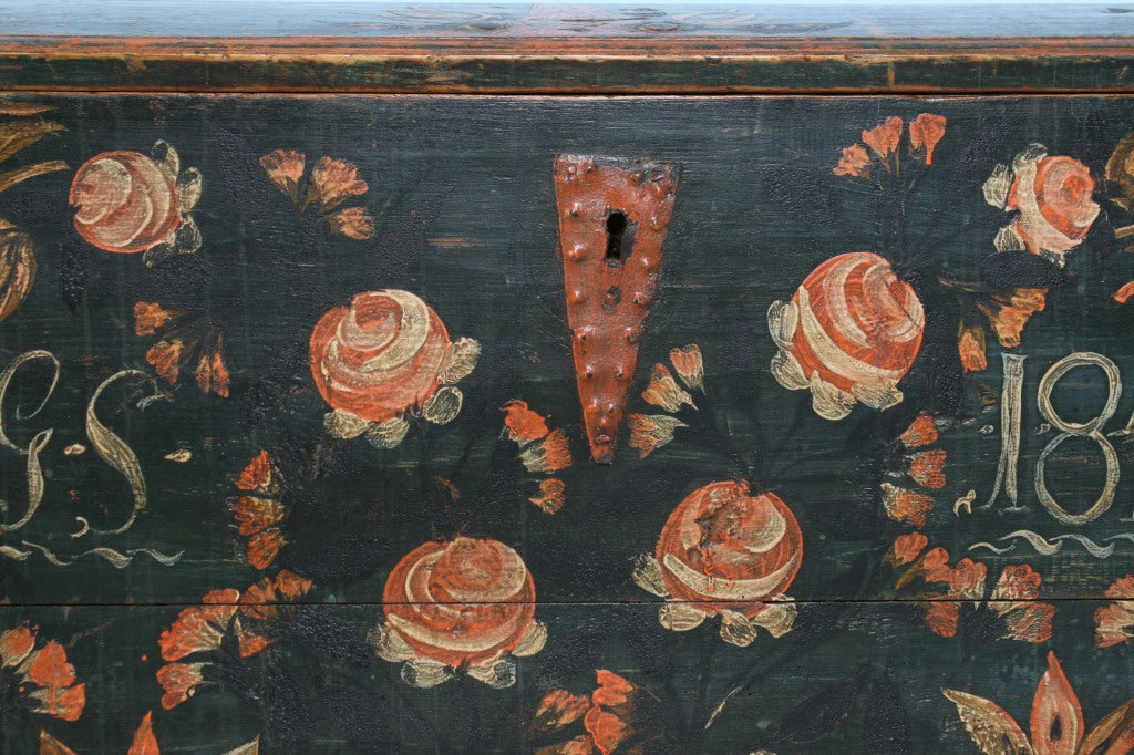Antique Original Painted Swedish Trunk, dated 1848 For Sale 3