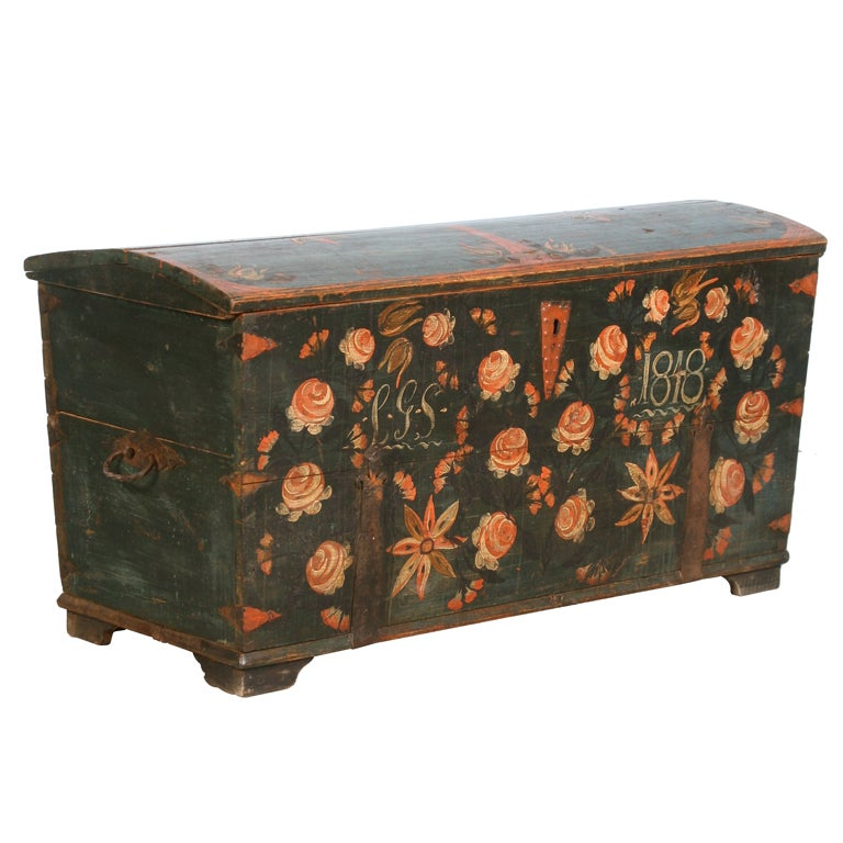 Antique Original Painted Swedish Trunk, dated 1848 For Sale