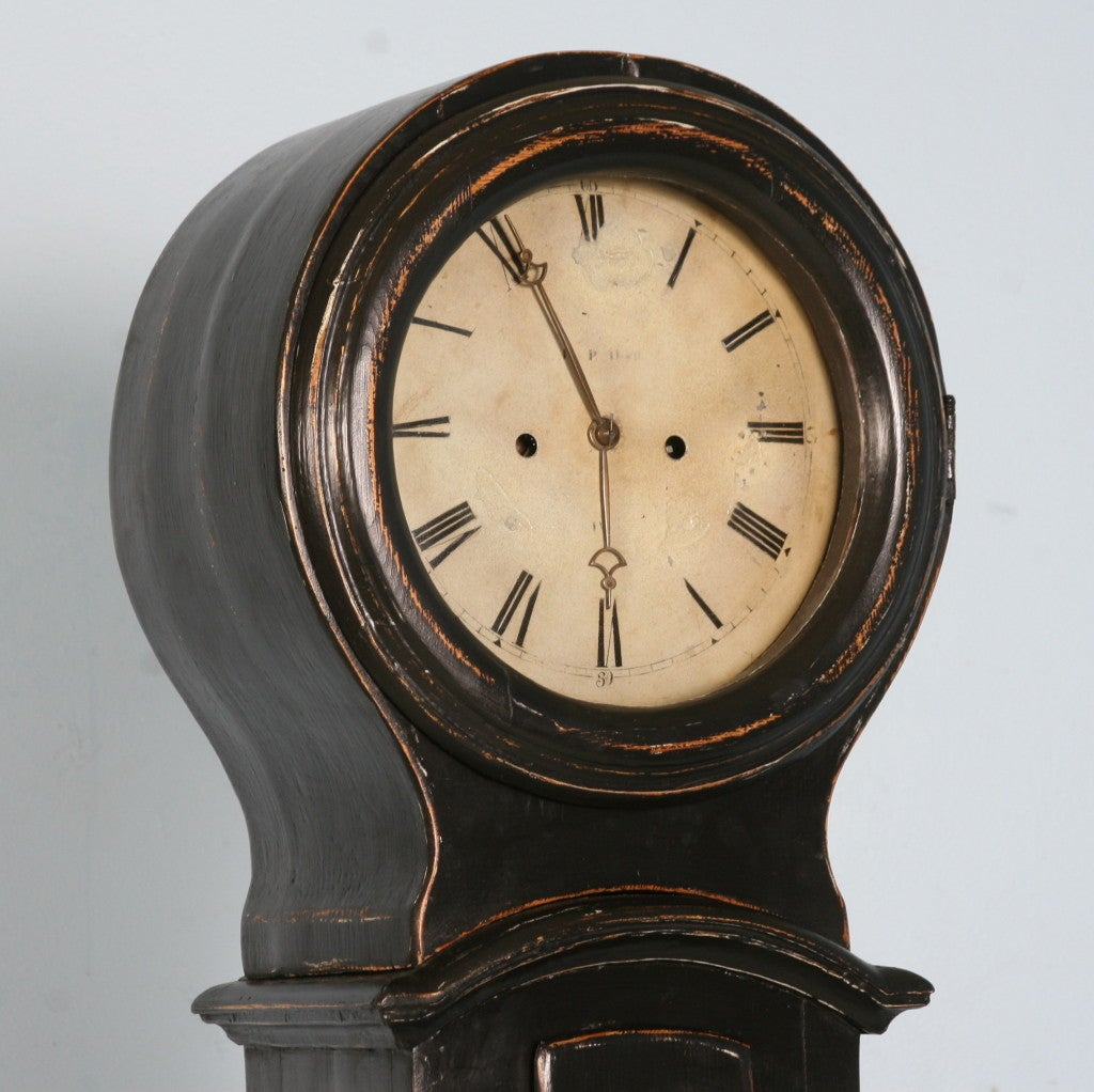 Paint Antique Black Swedish Mora Grandfather Clock, circa 1850