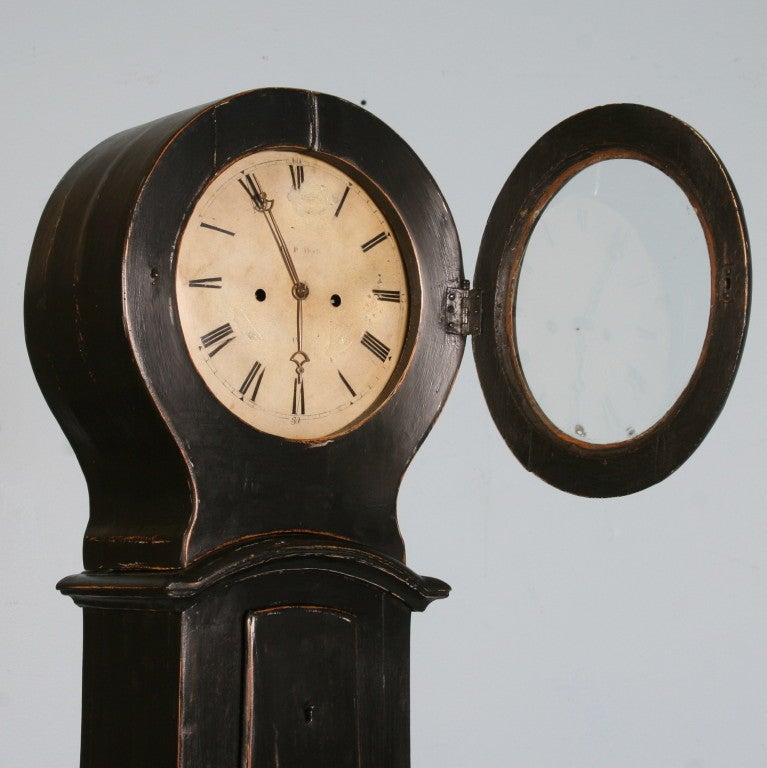 Antique Black Swedish Mora Grandfather Clock, circa 1850 4