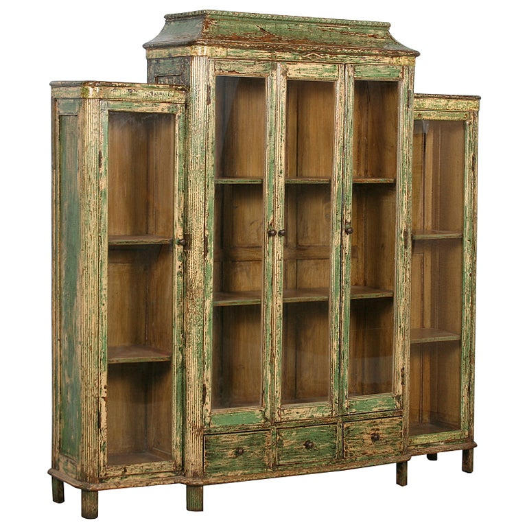 Antique green bookcase display cabinet with glass doors for Old glass doors