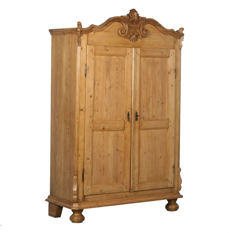 lithuanian pine armoire with scroll detailing for sale at 1stdibs. Black Bedroom Furniture Sets. Home Design Ideas