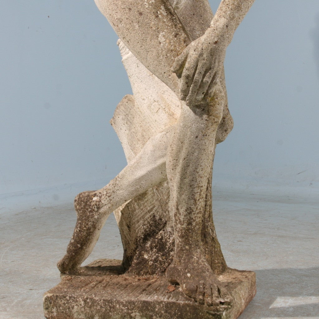 Old Garden Statue: Large Scale Antique Garden Sculpture Of Greek Discus