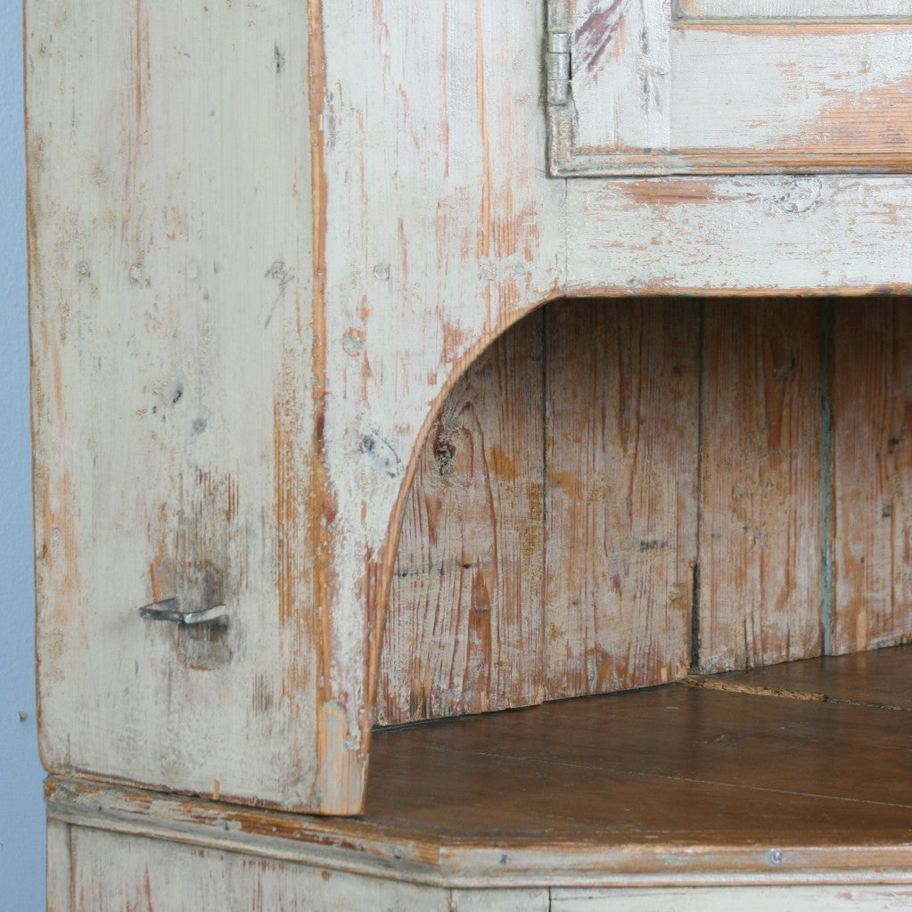 Pine Large Antique Swedish Corner Cabinet with Original Paint For Sale