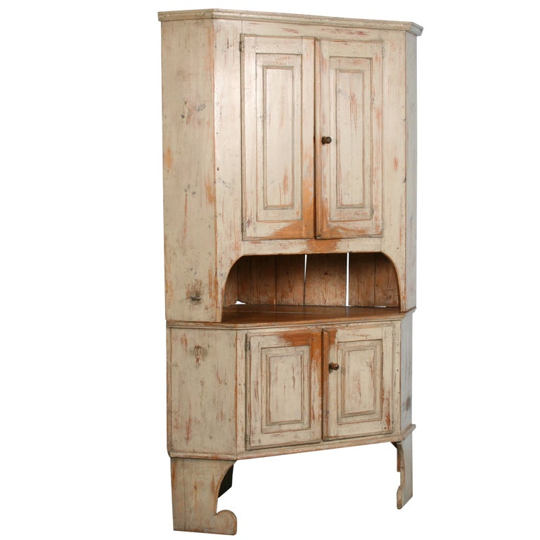 Large Antique Swedish Corner Cabinet with Original Paint For Sale