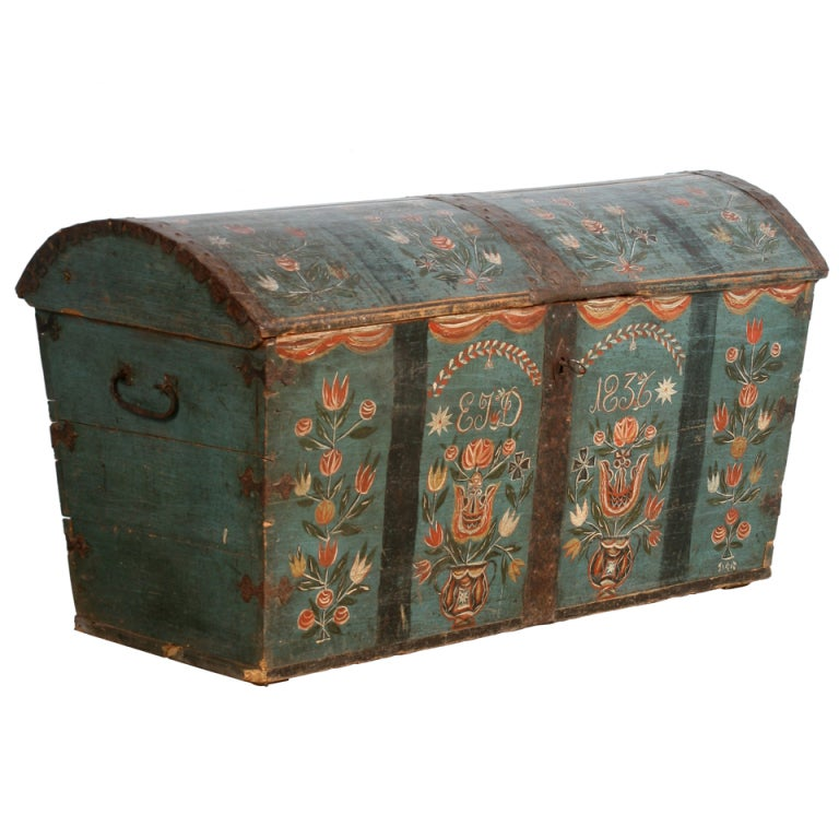 antique original painted swedish trunk dated 1836 at 1stdibs On painted wooden chest