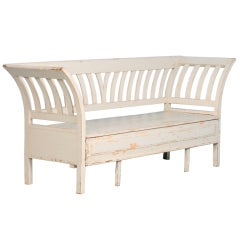 Antique Swedish Pine Original White Painted Bench, circa 1840-60