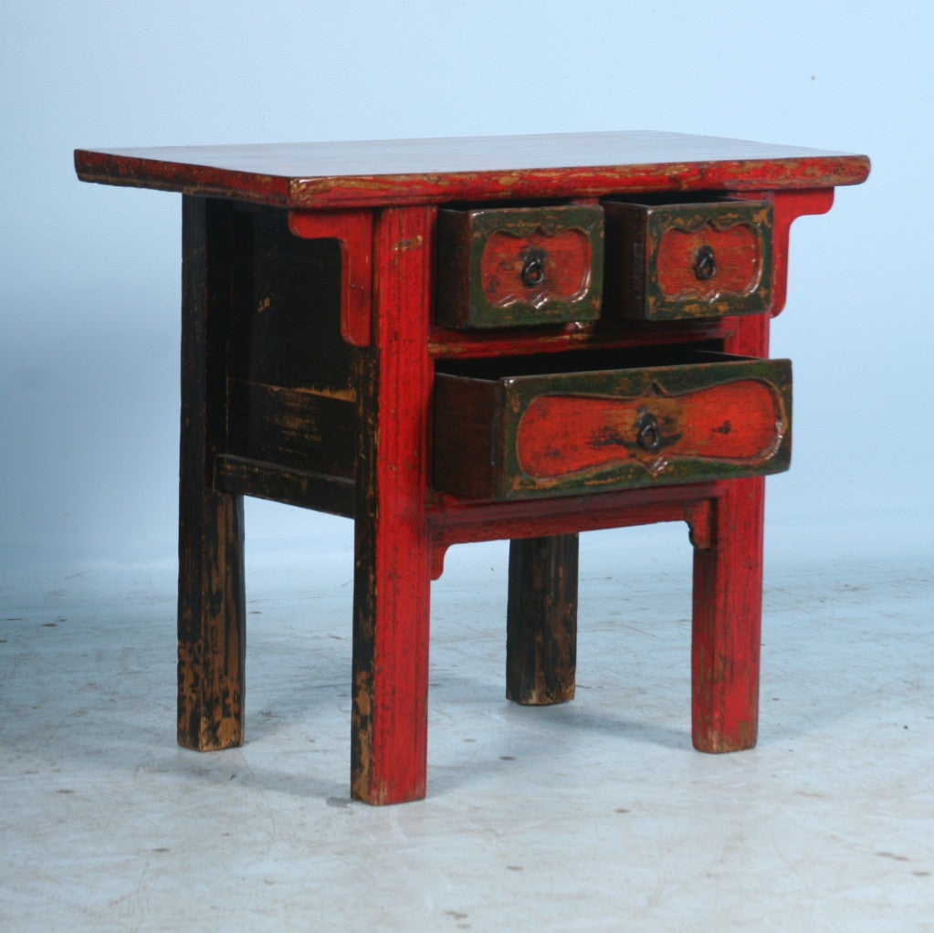 Antique Small Chinese Red Lacquered Console TableSide Table at