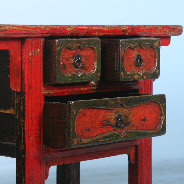 Antique Small Chinese Red Lacquered Console Table/Side Table 3