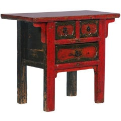 Antique Small Chinese Red Lacquered Console Table/Side Table