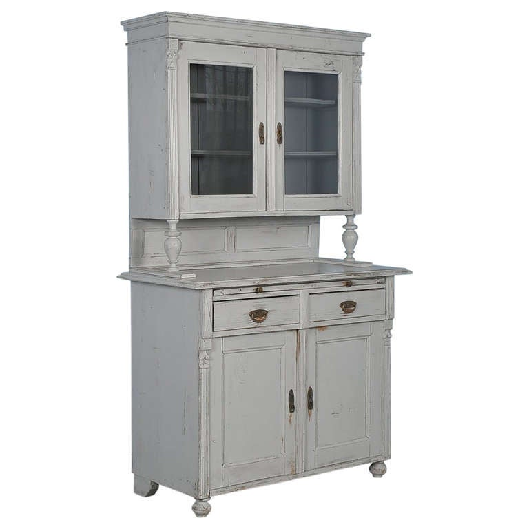Antique Gray Painted Cuboard Cabinet, Romania circa 1880