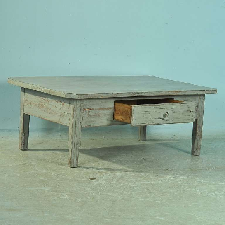 Antique Painted Pine Coffee Table With Single Drawer Circa 1860 80 For Sale At 1stdibs