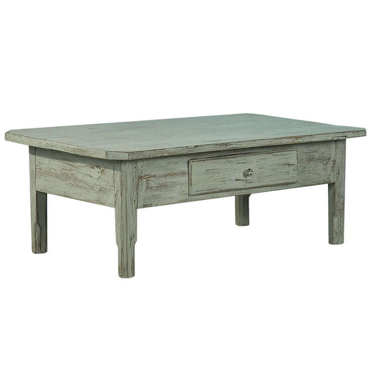 Antique painted pine coffee table with single drawer circa 1860 80 for sale at 1stdibs Pine coffee table with drawers