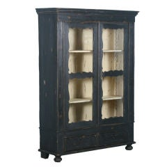 Antique Danish Black Painted Cabinet/Cupboard/Bookcase w/ Glass