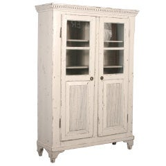 Antique Swedish Gustavian Style White Cabinet/Bookcase