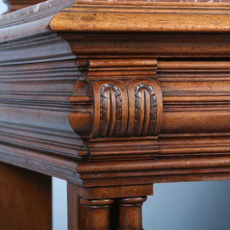 French Carved Antique Marble Top Server Buffet 7