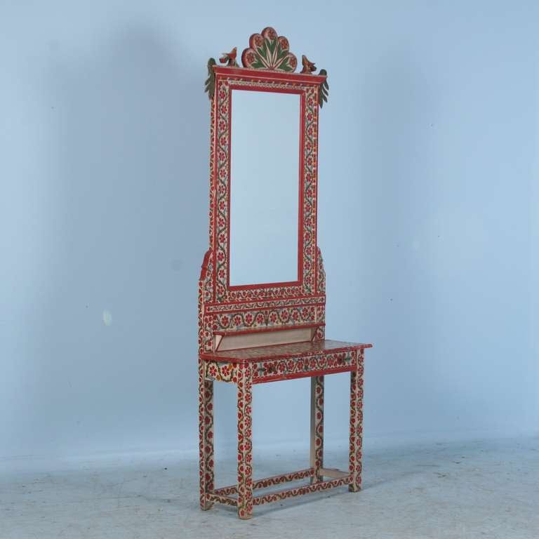 Antique Red And White Painted Romanian Hall Mirror