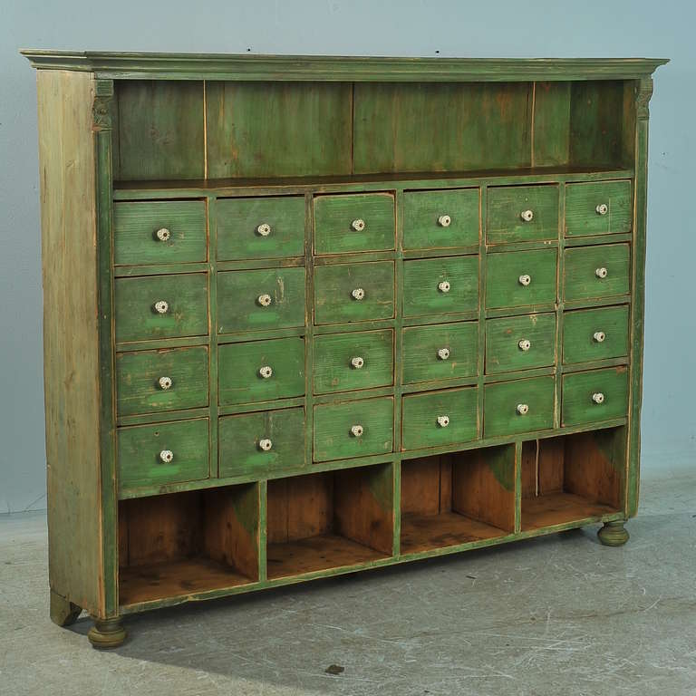 Antique Original Painted Green Bookshelf With Many Drawers Circa