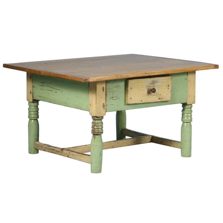 Antique Original Painted Light Green Coffee Table With Pine Top At 1stdibs
